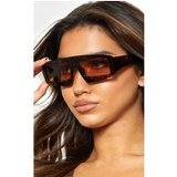Brown Tortoiseshell Ski Visor Sunglasses