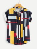 Color-block Curved Hem Blouse