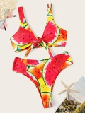 Random Watermelon Knot Front Top With High Waist Bikini