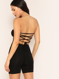 Criss-cross Tied Back Solid Tube Jumpsuit