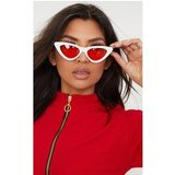 White Extreme Cat Eye Orange Lens Sunglasses