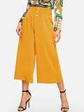 Button Fly Fold Pleat Culotte Pants
