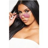 Lilac Oversized Square Lens Gold Metal Frame Sunglasses