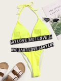 Letter Tape Triangle Top With  Tanga Bikini Set