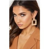 Gold Textured Statement Door Knocker Earring