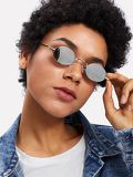 Oval Flat Lens Retro Sunglasses