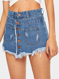 2 In 1 Whiskering Detail Button Front Denim Skirt