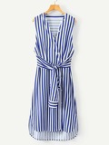 Contrast Stripe High Low Curved Hem Dress