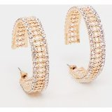 Gold Diamante Edged Hoop Earrings