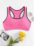 Contrast Trim Racer Back Sports Bra