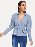 Gigot Sleeve Belted Wrap Blouse