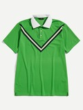 Men Contrast Collar Chevron Polo Shirt