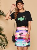 Tropical Print Letter Tee