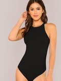 Solid Slim Fitted Halter Bodysuit