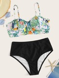 Random Tropical Bustier Top With High Waist Bikini Set