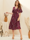 Ditsy Floral Print Knotted Front Peekaboo Dress