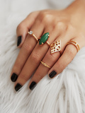 Gemstone Hollow Ring Set 5pcs