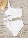 One Shoulder Bow Tie Bikini Set