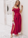 Simplee Foldover Front Pleated Wide Leg Belted Jumpsuit