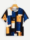 Color-block Eye Print Tee