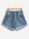 Button Front Roll Hem Denim Shorts
