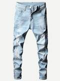 Men Letter Print Ripped Jeans