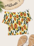 Off The Shoulder Sunflower Print Blouse
