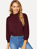 Mock Neck Rib-knit Drop Shoulder Tee