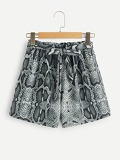 Self Tie Snakeskin Print Shorts