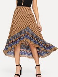 Buttoned Front Asymmetric Hem Ornate Print Skirt