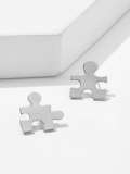 Puzzle Shaped Stud Earrings 1pair
