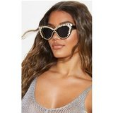 Black Pointy Cat Eye Statement Gemstone Border Sunglasses