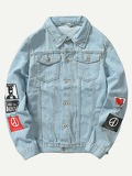 Men Patched Denim Jacket