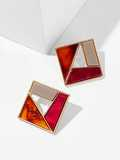 Color-block Patchwork Square Stud Earrings 1pair