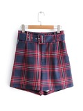Self Tie Plaid Shorts