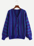 Bishop Sleeve Button Up Stripe Knit Coat