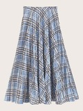 Plaid Flared Skirt