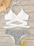 Wrap Halter Top With Snake Print Bikini Set