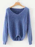 Lace-up Back Solid Fuzzy Jumper