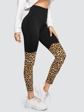 Cut-and-sew Leopard Leggings