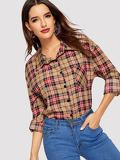 Plaid Roll Up Sleeve Trim Button Front Blouse
