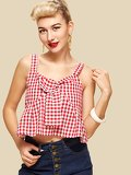 Elastic Back Gingham Cami Top
