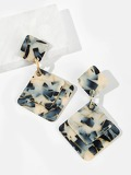 Marble Pattern Square Drop Earrings 1pair