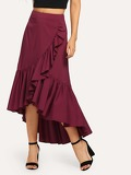 Ruffle Trim Asymmetrical Wrap Skirt