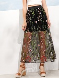 Mesh Overlay Embroidery Skirt