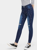 Pearls Beaded Destroyed Jeans