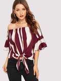 Color-block Knot Bardot Top