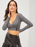 Rib-knit Deep V Wrap Neck With Button Crop Tee
