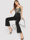 O-ring Zipper Fly Contrast Piping Flare Leg Pants