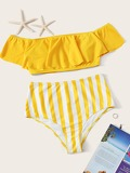 Floaty Bardot Top With Striped High Waist Bikini